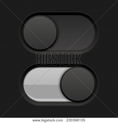 Black Toggle Switch Round Buttons. Vector 3d Illustration