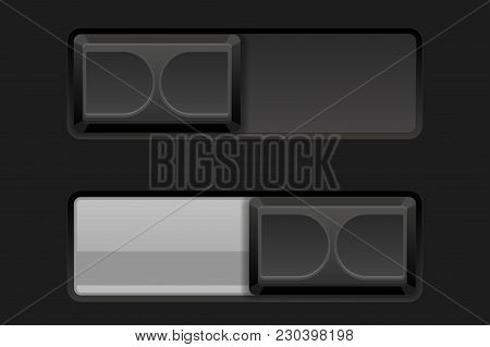 Black Toggle Switch Buttons. Vector 3d Illustration