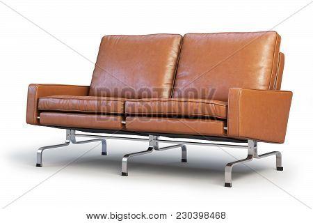 Brown Leather Sofa With Chrome Base. Modern Sofa. Sofa For Office. Loveseat Sofa. Realistic Folds. 3