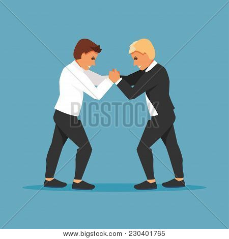 Two Fighting Businessmen Are Opponents. Competition And Confrontation. Vector Illustration