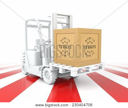 Forklift Truck With Turkey Flag Color. Made In Turkey.