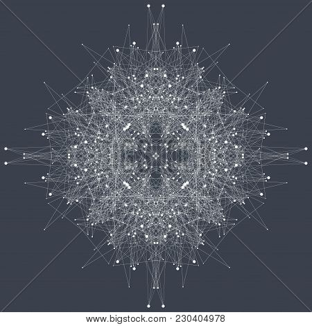 Fractal Element With Compounds Lines And Dots. Big Data Complex. Graphic Abstract Background Communi