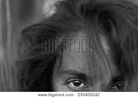 Style And Fashion Concept. Close Up Highly Detailed Authentic Black And White Portrait Of Fashionabl
