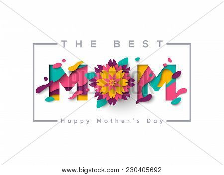 Happy Mothers Day Greeting Card With Typographic Design And Floral Elements. Vector Illustration. Pa