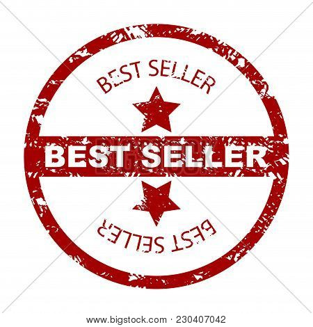 Best Seller Stamp Seal With Star. Stamp Label Seal, Quality Bestseller, Rubber Stamp. Vector Illustr