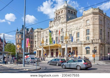 Stockholm, Sweden - May 11, 2013:  Dramaten The Royal Dramatic Theatre At Nybroplan In Stockhom. Swe