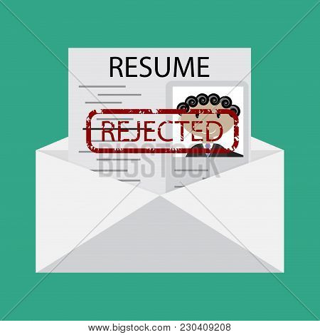 Letter With Declined Cv. Vector Resume Document With Stamp Rejected Illustration