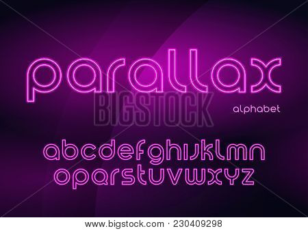 Parallax Vector Linear Neon Typefaces, Alphabet, Letters, Font, Typography Global Swatches