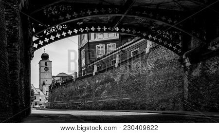Sibiu Below The Bridge Of Liars And With The Council Tower In Background.