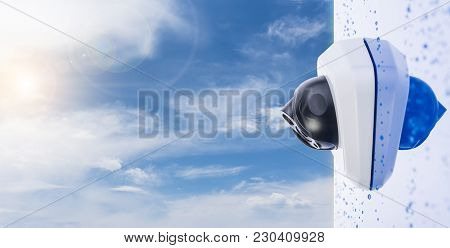 Outdoor Bullet Cctv Camera On The Wall, Space For Text. Concept - Technology And Security