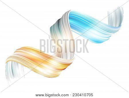 Vector 3d Paint Curl. Abstract Spiral Brush Stroke. Flowing Ribbon Shape. Digital Liquid Ink. Dynami