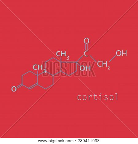 Chemical Molecular Formula Of The Hormone Cortisol. The Hormone Of The Adrenal Glands. Infographics.