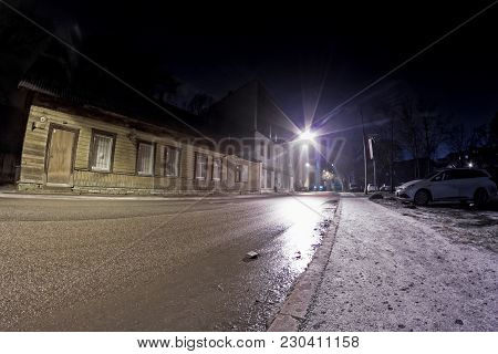 A Night View Of The Streets Of Tallinn, The Capital Of Estonia. The Streets Can Be Very Slippery In