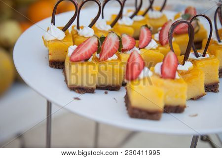 Delicious Sweets. Dessert Plate. Bakery And Restaurant Deserts. Sweet Food, Buffet. Unhealthy Food.