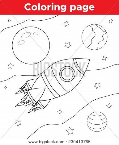Coloring Page Or Book Outlined Space Elements For Children. Rocket, Planets And Stars. Vector Illust