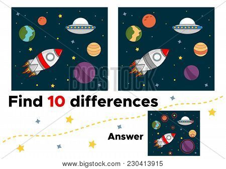 Find Ten Differences. Cute Cartoon Space Elements: Rocket, Planets And Stars. Educational Game For P