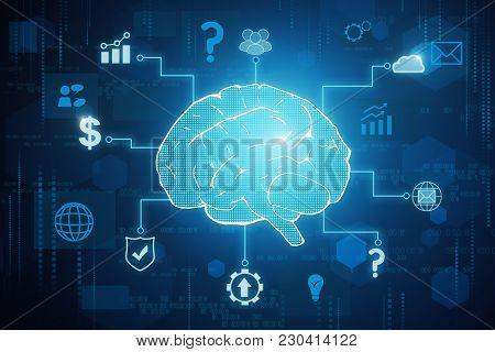 Creative Tech Brain Background. Artificial Intelligence Concept. 3d Rendering