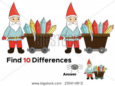 Educational Game For Kids, Find Ten Differences. Funny Cartoon Dwarf With Crystals In Trolley. Vecto