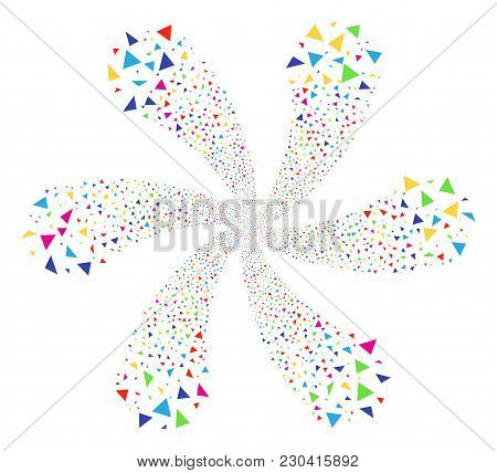 Multicolored Triangle Figures Swirl Burst. Hypnotic Cycle Composed From Scatter Triangle Figures Ite