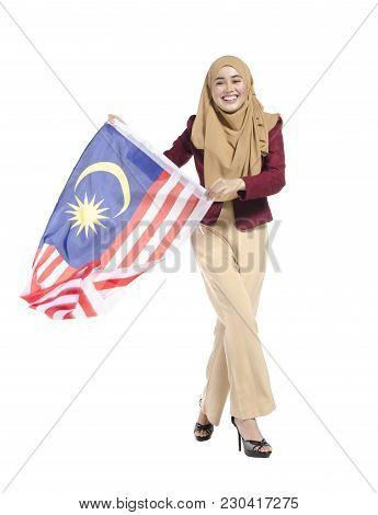 Young Malaysian Civilian With Happy Face  Holding Flag.isolated White Background