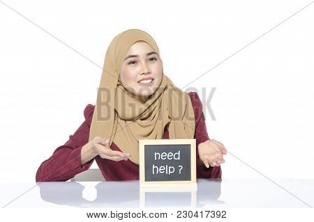 Business Support And Services, Smile Face Woman Looking Chalkboard With Word Contact Us.isolated On