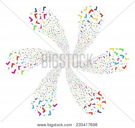 Bright Yes Curl Motion. Suggestive Curl Composed From Scatter Yes Objects. Vector Illustration Style