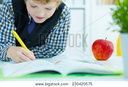 Little Caucasian Schoolboy Writing In A Notebook Sitting At A Table . Red Apple Lies Next To The Tab