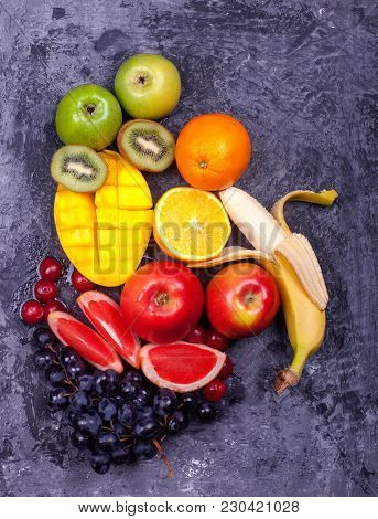 Mix Fruits Background.fresh Fruits Close Up.healthy Eating, Dieting Concept Tropical Fruits Kiwi Wat