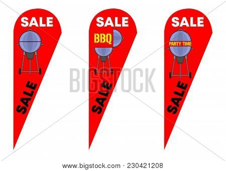 Teardrop Feather Flags For Bbq Party Sale. All The Objects Are In Different Layers And The Text Type