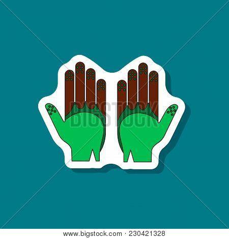 Paper Sticker On Stylish Background Golf Gloves