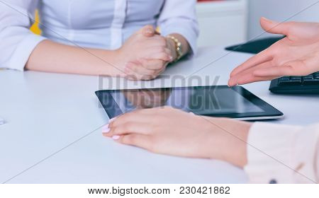 Woman Touching Digital Tablet Hand. Young Business Crew Working With New Startup.