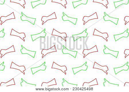 Hand - Thumb Up - Thumbs Down - Vector Pattern - Green And Red