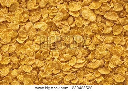 Corn-flakes Background And Texture, Cornflake Cereal Box For Morning Breakfast. Cereal