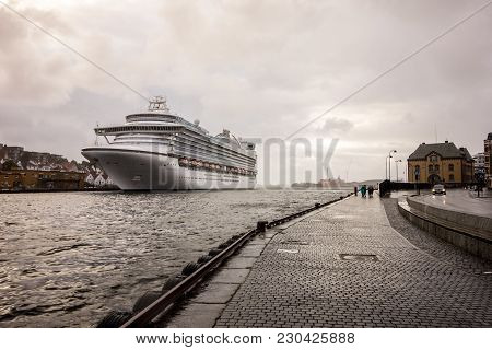 Stavanger, Norway - August 8, 2016:  Emerald Princess Cruise Ship In A Harbour Of Stavanger, Norway