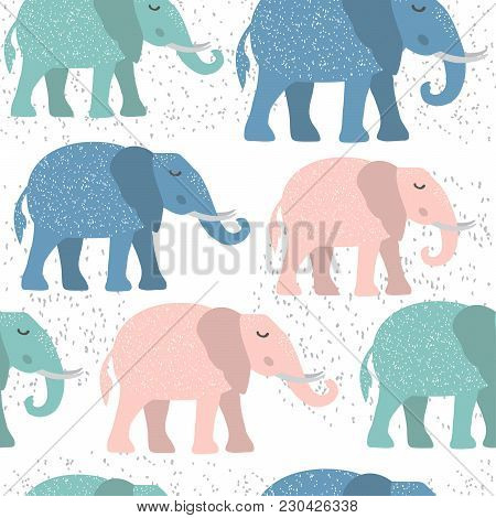 Childish Seamless Pattern With Cute Elephant. Creative Texture For Fabric, Textile