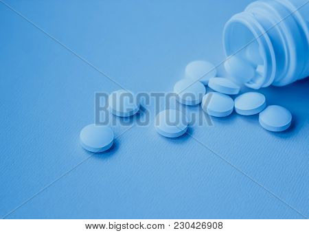A Handful Of White Large Tablets, Vitamins For Health