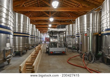 Bordeaux , France - May 10 , 2017 : Wine Is Kept In Modern Stainless Steel Fermentation Vessels In T