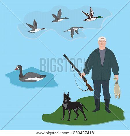 Set Huntsman With Gun Holds Duck In Hands, Dog, Fly Ducks, Goose, Art Creative Modern Vector Illustr