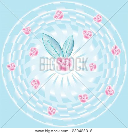 Tender Roses On An Abstract Turquoise Background Art Modern Creative Illustration Vector