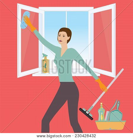 Woman Washes Open Window, Cleansers For Apartment, Windshield Wiper, Brush, Sponge, Art Creative Mod
