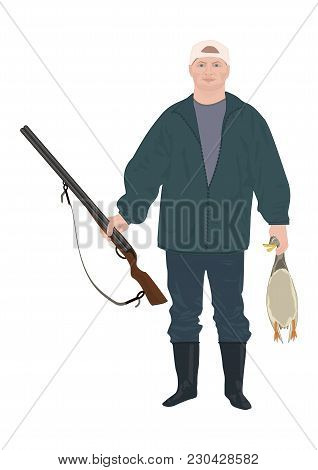 Hunter With A Gun Holding A Duck In His Hands Isolated On White Background Art Creative Modern Vecto