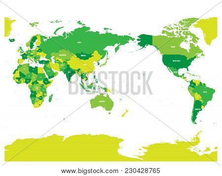 World Map In Four Shades Of Green On White Background. High Detail Pacific Centered Political Map. V
