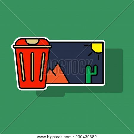 Sticker Delete Image Flat Icon On Color Background.