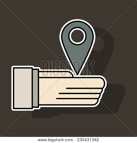 Sticker Geolocation Bar Sign Hand Holds City Map Gps Navigator . Mobile Navigation Concept. Modern S