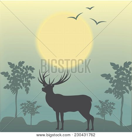 Deer Early Morning Sun Bird Trees Abstract Art Creative Modern Illustration Light Background Vector