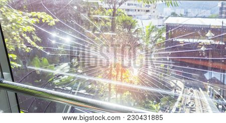 Soft Focus Of Broken Electric Tram Windshield By Accident