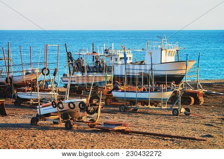 Ships And Mediterranean Sea At Santa Teresa Di Riva Near Messina, Sicily, Italy