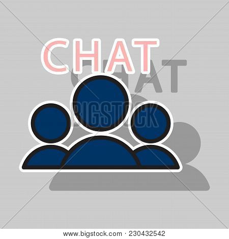 Sticker Mobile Phone Chat Interface . Vector Design Template