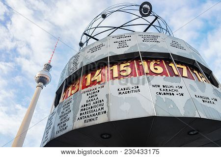 Berlin, Germany - December 10, 2017: Urania World Clock And Television Tower On Alexanderplatz In Be