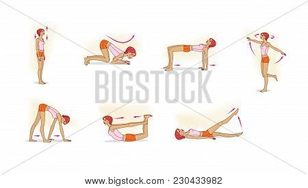 The Style Of The Animal. A Young Girl Performs A Variety Of Exercises For Stretching And Defusing Th
